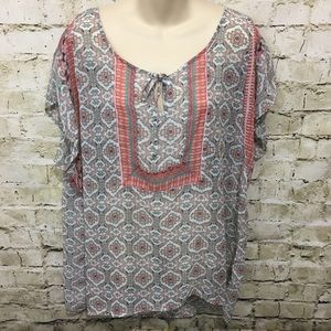 Maurice's Floral Aztec Print Sheer Blouse